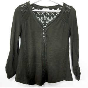 Meadow Rue Anthro 3/4 Sleeves Tee V-neck Blouse XS